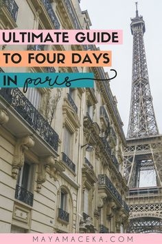 The Ultimate Guide to Four Days in Paris Planning a trip to Paris? This four day Paris itinerary will show you the best things to see, do and eat in the city of lights! Paris France Travel, Paris Travel Guide, Europe Travel Tips, European Travel, Travel Destinations, Travel Guides, Backpacking Europe, Travel Goals, Travel Souvenirs