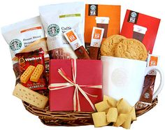 Coffee gift baskets for the coffee lover in your life! Let someone special wake up to a fresh cup of gourmet coffee and delicious snacks. Tea Gifts, Coffee Gifts, Food Gifts, Coffee Drinks, Coffee Coffee, Coffee Gift Baskets, Holiday Gift Baskets, Gourmet Gift Baskets, Christmas Baskets