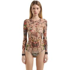 Dsquared2 Women Tattoo Printed Tulle Stretch Bodysuit ($245) ❤ liked on Polyvore featuring intimates, shapewear and multicolor
