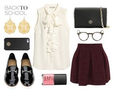 """Back to school"" by poshandy ❤ liked on Polyvore featuring Karl Lagerfeld, Salvatore Ferragamo, Liz Law, NARS Cosmetics, H&M, Tory Burch, Oliver Peoples, BackToSchool, NARS and blouse"