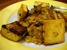 tofu and cabbage in apple cider