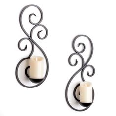 Scrolled Metal Sconce, Set of 2 at Kirkland's Wrought Iron Candle Holders, Wall Candle Holders, Candle Stand, Candle Wall Sconces, Wrought Iron Decor, Metal Tree Wall Art, Interior Design Living Room, Wall Art Decor, Applique