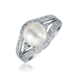 Bling Jewelry 925 Silver Perle de culture d'eau douce de style Vintage bague de fiançailles 9mm