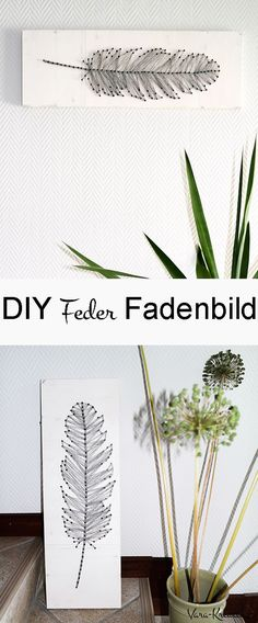 DIY Feder Fadenbild, DIY Deko, Nagelbild, String Art, Faden Kunst, DIY Wohnen, Vara-Kreativa