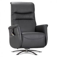 Lænestol med løft-op funktion i sort læder Massage Chair, Recliner, Skyline, Loft, Lounge, Furniture, Home Decor, Chair, Airport Lounge