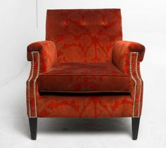 1950s Modern Club Chair Reupholstered in Brunschwig et Fils Printed Velvet, PAIR AVAILABLE