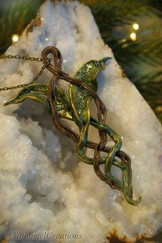 Forest Elf Pendant Sculpted OOAK Leaf by TatharielCreations