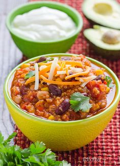 Quinoa Chili with Slow Cooker Option -- You will not miss the meat in this one pan scrumptious chili. Or make it in the slow cooker for an easy weeknight dinner.
