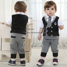 ef0ec2358 Discount Kids Suit Outfits Infant Clothing Baby Suit Kids Sets Child  Clothes Toddler Short Sleeve T Shirts Boys Tie Kids Casual Pants Children  Set From ...