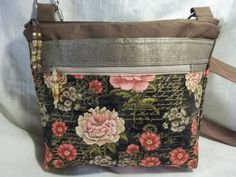 Crossbody VI Handbag in Browns and coral floral, adjustable handle, glass beaded zipper pull, stitching on handle by ChickadeeHillDesigns on Etsy