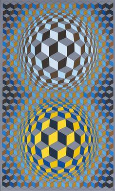 Vasarely, Victor, Oet-Oet, 1984. Speel van achtergrond en voorgrond, optische illusie -> OPTICAL ART ('Op-Art')