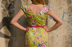 Green color dress with floral print and pink belt by Be Chic Fashion picture #6