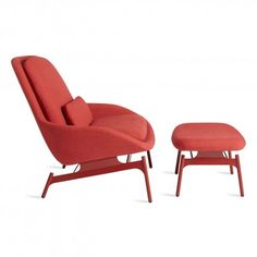 Field Modern Reading Chair with Ottoman - Side