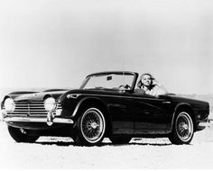 Triumph TR4 historic photo with young lady
