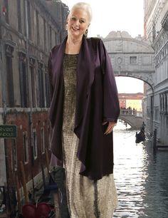 Drape Lapel Coat Dark Teal Rayon Satin (Plus Size) www.plus-size.com