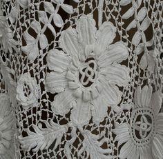 Edwardian Clothing at Vintage Textile: #2598 Irish crochet dress Iris crochet elişi perde dantel kendin yap ağ ipi
