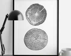 Tree Stump Tree Rings A4 ink blot, log rings, Black and white, tree poster, tree art, log stamp, log print, Tree print, gifts under