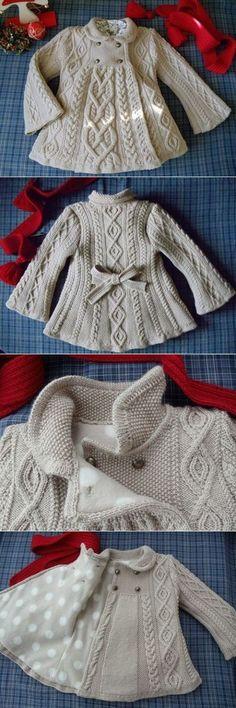 Красивенное вязанное пальто для девочки... вязаное пальто для девочки спицами с описанием - на бэби.ру
