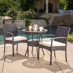 Ridley Outdoor Wicker Bistro Set with Cushions by Christopher Knight Home (Multi-Brown), Beige, Patio Furniture (Fabric) 3 Piece Bistro Set, 3 Piece Dining Set, Dining Sets, Patio Furniture Sets, Home Decor Furniture, Furniture Ideas, Garden Furniture, Furniture Design, Furniture Shopping
