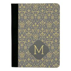 Charcoal Gray and Faux Gold Foil Floral Padfolio - monogram gifts unique design style monogrammed diy cyo customize