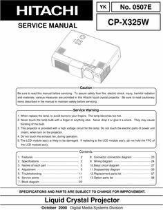 Hitachi CP-X 325 W Projector Original Service Manual Procedural Writing, Electrical Wiring Diagram, Electric Shock, Projectors, Free Printables, Manual, Pdf, Windows, The Originals