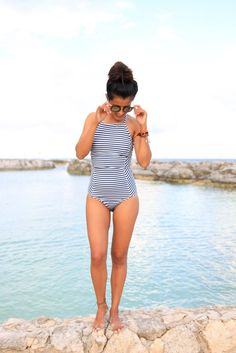 striped one piece #albionfit