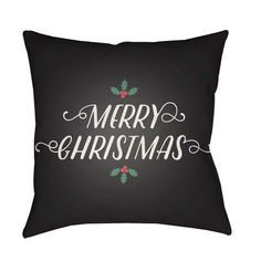 Black Merry Christmas I 20-Inch Throw Pillow with Poly Fill