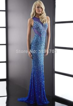 Free shipping Elegant High Backless Beading Blue Prom dresses 2014 Mermaid Floor Length Evening Gowns 2014 New Style $139.00