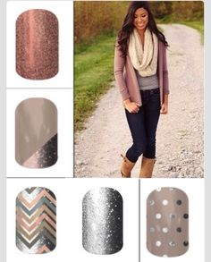 Fall 2014 - Fall Fashion - Got Sparkles - Want Sparkles  - Fall Shine - I love this look - Scarves and Sparkles #Jamberry #InfinityScarves and Chevron - Fall Favorites - Mix & Match - When mixing and matching, you can make so many different fun combos from just a few Jamberry designs. Easy to do. No drying time! You can have your nails done in the time you'd wait for your appointment in the salon or the time you wait to dry.