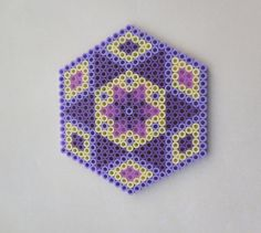 2 Hama Beads coasters Purple Love by TCAshop on Etsy