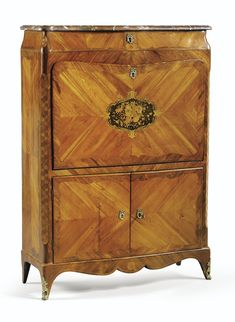 A GILT-BRONZE MOUNTED TULIPWOOD, KINGWOOD AND FLORAL MARQUETRY SECRÉTAIRE, LATE LOUIS XV