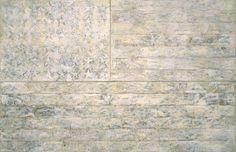 "Jasper Johns (American): Encaustic & Oil Painting with Newsprint & Charcoal, ""White Flag"" (1955) [Metropolitan Museum of Art, New York City]"