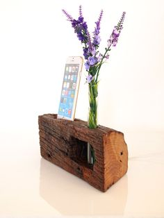 DOCK WITH INTERCHANGEABLE CORDS / CONNECTORS Wooden docking station and Bud Vase all in one. Useful, cute and decorative wood piece handmade from