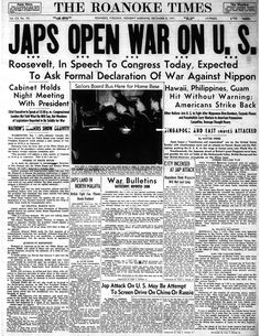 December 8, 1941. The morning paper after the attacks on Pearl Harbor. The picture in the center shows several local Naval officers who were called in for service.