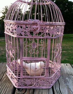 pink shabby chic things | Shabby Chic Pink Bird Cage - Hexagon Shaped / Whimsical / Wedding ...