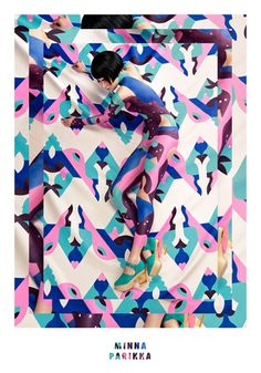 Illustrator Janine Rewell collaborated with fashion brand Minna Parikka to see her geometric designs realised as body paint for a new fashion campaign