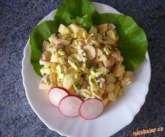 ŘEDKVIČKOVÝ SALÁT 2 svazky ředkviček (cca20 kusů),6 vajec na tvrdo uvařených,3 lžíce majonézy(nejlépe hellmans)1 lžička plnotučné hořčice,pažitka,sůl,pepř.  POSTUP PŘÍPRAVY  Ředkvičky nakrájíme na kolečka,vejce na malé kostky,spojíme majonézou.Přidáme hořčici sůl,pepř a pažitku.
