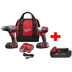 Milwaukee M18 18-Volt Lithium-Ion Cordless Drill Driver/Impact Driver Combo Kit (2-Tool) with Free Battery