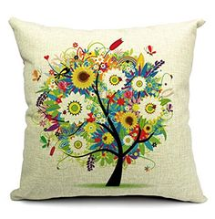 Sunflower Tree Dragonfly Cotton Linen Throw Pillow Case Cushion Cover Home Sofa Decorative 18 X 18 Inch QINU KEONU http://www.amazon.com/dp/B00RPV0XWC/ref=cm_sw_r_pi_dp_2mQ6wb0BFRR8Z