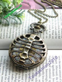 Retro copper punk rib bone pocket watch necklace pendant jewelry vintage style. $6.99, via Etsy.