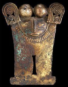 Anthropo-zoomorphous pendant,Carribbean plains (Zenu)The Colombian Gold, Mesoamerican, Inca, Ancient Jewelry, Ancient Civilizations, Ancient Art, Mythical Creatures, Atlantis, Prehistoric
