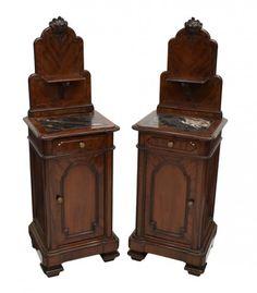 ~ Pair Italian Mahogany Bedside Cabinets ~ new.liveauctioneers.com