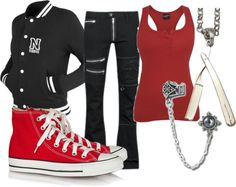 A fashion look from March 2013 featuring red tank, red hi tops and gothic earrings. Browse and shop related looks. School Fashion, Emo Fashion, Paris Fashion, Fashion Ideas, Fashion Looks, Fashion Outfits, Emo Outfits, School Outfits, Goth Clothes
