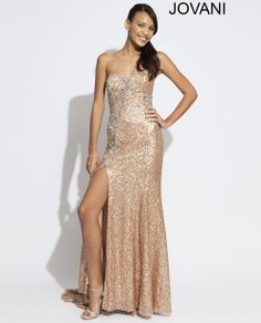 Jovani 89660  Style# : 89660  Available Color(s): Rose/Gold  Strapless floor length Jovani gown features a sweetheart neckline and a sexy slit ~ Available at Glitteratistyle.com