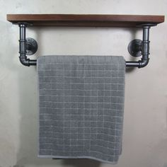 Urban Industrial Rustic Iron Pipe Towel Rail Wooded Shelf Shelving Storage | eBay