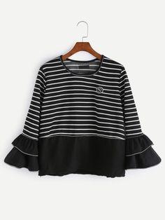 Black Striped Bell Sleeve T-Shirt