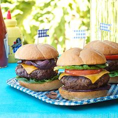 Lady-like burgers that mean business. Redeye-Rubbed Burgers with Worcestershire Glazed Onions Recipe via Woman's Day. #wabeeflove