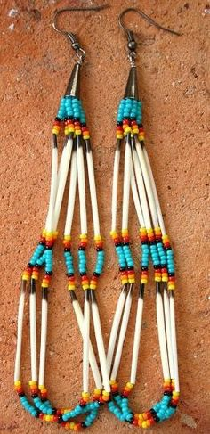 Beaded Native American KIOWA Earrings by Tribalimpressions on Etsy, $32.00