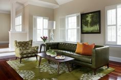 Green and Taupe Living Room, love the rug