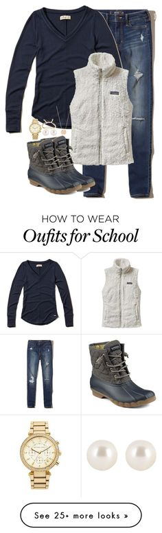 """15 days of school until Christmas!!!!"" by keileeen on Polyvore featuring Hollister Co., Patagonia, Sperry, BaubleBar, MICHAEL Michael Kors, Henri Bendel and Kendra Scott"
